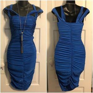 Bright Blue Shirred Tube Dress - S/M/L